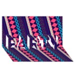 Purple And Pink Retro Geometric Pattern PARTY 3D Greeting Card (8x4)