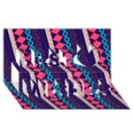 Purple And Pink Retro Geometric Pattern Best Wish 3D Greeting Card (8x4)