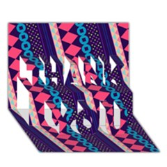 Purple And Pink Retro Geometric Pattern Thank You 3d Greeting Card (7x5) by DanaeStudio