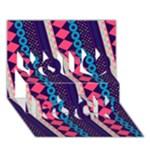 Purple And Pink Retro Geometric Pattern You Rock 3D Greeting Card (7x5)