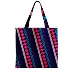 Purple And Pink Retro Geometric Pattern Grocery Tote Bag by DanaeStudio