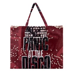 Panic At The Disco Poster Zipper Large Tote Bag by Onesevenart