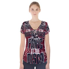 Panic At The Disco Poster Short Sleeve Front Detail Top by Onesevenart