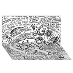 Panic! At The Disco Lyric Quotes Twin Heart Bottom 3d Greeting Card (8x4) by Onesevenart