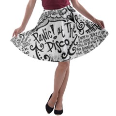 Panic! At The Disco Lyric Quotes A Line Skater Skirt by Onesevenart