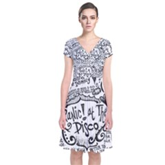 Panic! At The Disco Lyric Quotes Short Sleeve Front Wrap Dress by Onesevenart