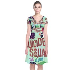 Panic! At The Disco Suicide Squad The Album Short Sleeve Front Wrap Dress by Onesevenart