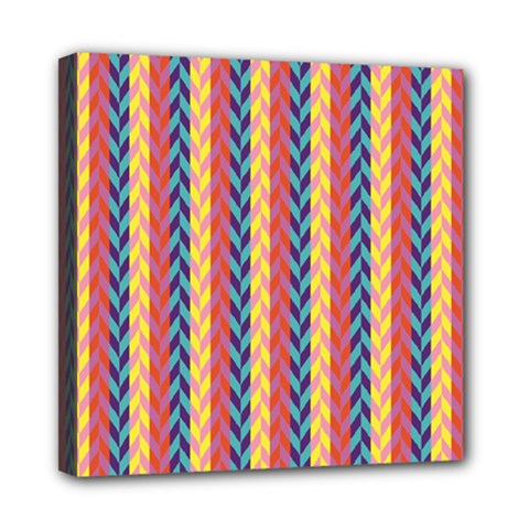 Colorful Chevron Retro Pattern Mini Canvas 8  X 8  by DanaeStudio