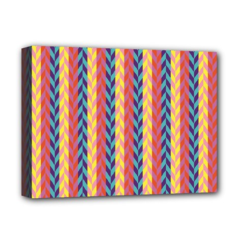 Colorful Chevron Retro Pattern Deluxe Canvas 16  X 12   by DanaeStudio