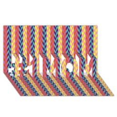 Colorful Chevron Retro Pattern #1 Mom 3d Greeting Cards (8x4) by DanaeStudio