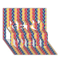 Colorful Chevron Retro Pattern Get Well 3d Greeting Card (7x5) by DanaeStudio