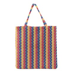 Colorful Chevron Retro Pattern Grocery Tote Bag by DanaeStudio