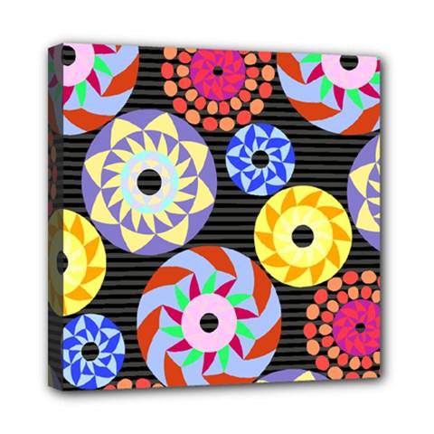 Colorful Retro Circular Pattern Mini Canvas 8  X 8  by DanaeStudio