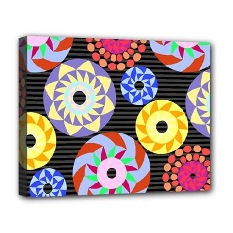 Colorful Retro Circular Pattern Deluxe Canvas 20  X 16   by DanaeStudio