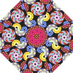 Colorful Retro Circular Pattern Hook Handle Umbrellas (large) by DanaeStudio