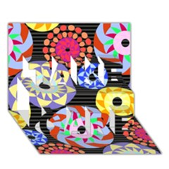 Colorful Retro Circular Pattern Take Care 3d Greeting Card (7x5) by DanaeStudio