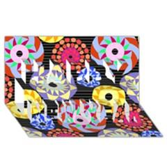 Colorful Retro Circular Pattern Happy New Year 3d Greeting Card (8x4) by DanaeStudio