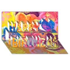 Pop Art Roses Happy Birthday 3d Greeting Card (8x4) by DanaeStudio