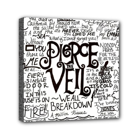 Pierce The Veil Music Band Group Fabric Art Cloth Poster Mini Canvas 6  X 6  by Onesevenart