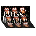Halloween brown owls  Happy Birthday 3D Greeting Card (8x4)