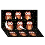 Halloween brown owls  Twin Hearts 3D Greeting Card (8x4)