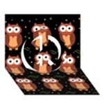 Halloween brown owls  Peace Sign 3D Greeting Card (7x5)