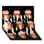 Halloween brown owls  THANK YOU 3D Greeting Card (7x5)