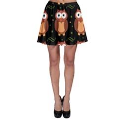 Halloween Brown Owls  Skater Skirt by Valentinaart
