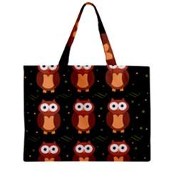 Halloween Brown Owls  Zipper Mini Tote Bag by Valentinaart