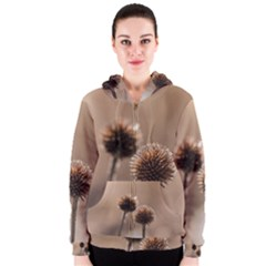 Withered Globe Thistle In Autumn Macro Women s Zipper Hoodie by wsfcow