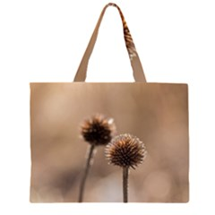 Withered Globe Thistle In Autumn Macro Zipper Large Tote Bag by wsfcow