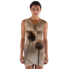 Withered Globe Thistle In Autumn Macro Wrap Front Bodycon Dress by wsfcow