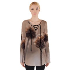 Withered Globe Thistle In Autumn Macro Women s Tie Up Tee by wsfcow