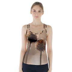 Withered Globe Thistle In Autumn Macro Racer Back Sports Top by wsfcow