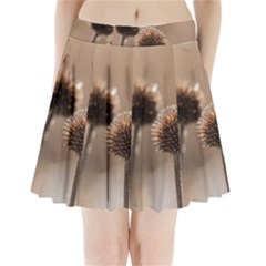 Withered Globe Thistle In Autumn Macro Pleated Mini Skirt by wsfcow