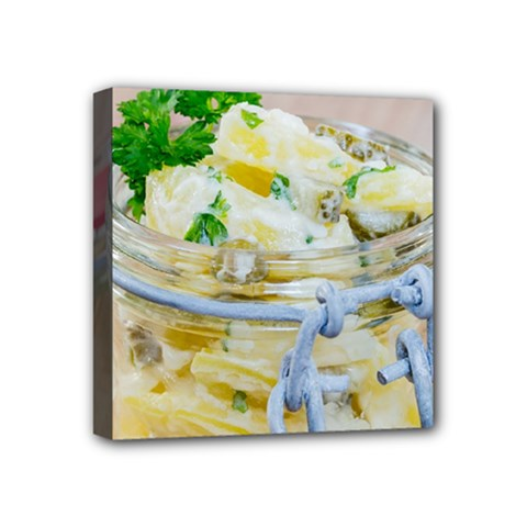 Potato Salad In A Jar On Wooden Mini Canvas 4  X 4  by wsfcow