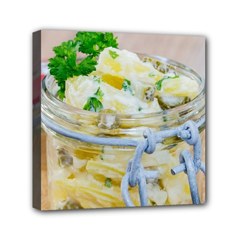 Potato Salad In A Jar On Wooden Mini Canvas 6  X 6  by wsfcow