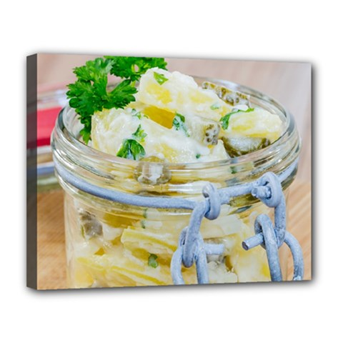 Potato Salad In A Jar On Wooden Canvas 14  X 11  by wsfcow