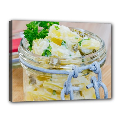 Potato Salad In A Jar On Wooden Canvas 16  X 12  by wsfcow