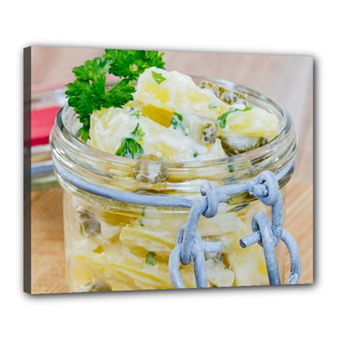 Potato Salad In A Jar On Wooden Canvas 20  X 16  by wsfcow