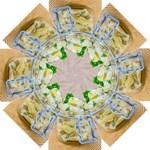 Potato salad in a jar on wooden Straight Umbrellas