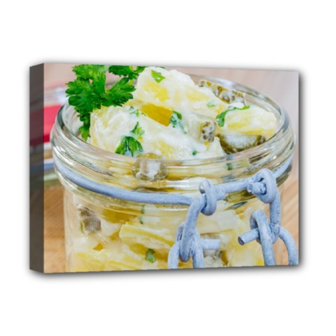 Potato Salad In A Jar On Wooden Deluxe Canvas 16  X 12   by wsfcow