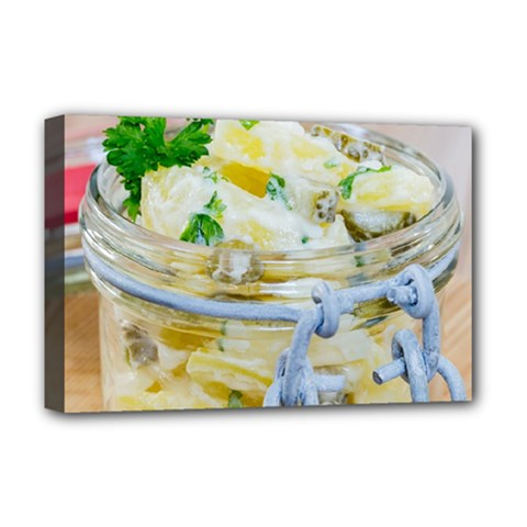 Potato Salad In A Jar On Wooden Deluxe Canvas 18  X 12   by wsfcow
