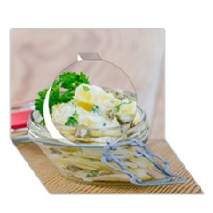Potato Salad In A Jar On Wooden Circle 3d Greeting Card (7x5) by wsfcow