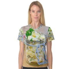 Potato Salad In A Jar On Wooden Women s V Neck Sport Mesh Tee by wsfcow