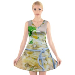 Potato Salad In A Jar On Wooden V Neck Sleeveless Skater Dress by wsfcow