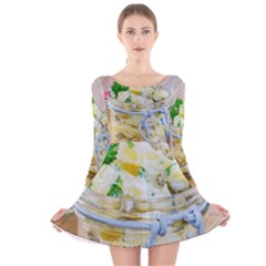 Potato Salad In A Jar On Wooden Long Sleeve Velvet Skater Dress by wsfcow