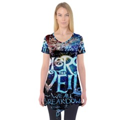 Pierce The Veil Quote Galaxy Nebula Short Sleeve Tunic  by Onesevenart