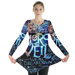 Pierce The Veil Quote Galaxy Nebula Long Sleeve Tunic  by Onesevenart