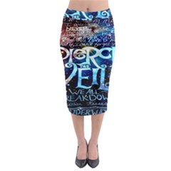 Pierce The Veil Quote Galaxy Nebula Midi Pencil Skirt by Onesevenart